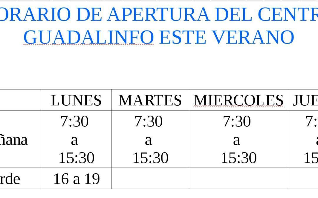 Horario de apertura de Guadalinfo de Jamilena para este verano