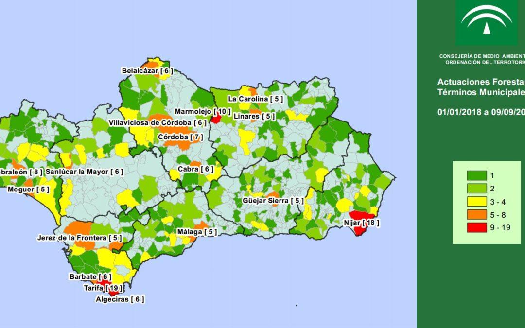 Marmolejo, el tercer municipio andaluz en incendios forestales registrados