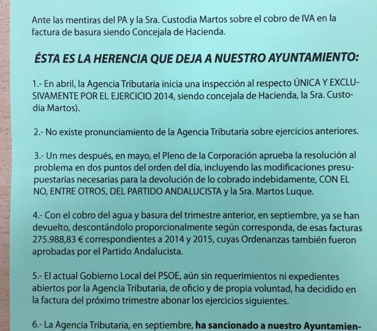 "El PSOE llama ""mentirosa"" a Custodia Martos"