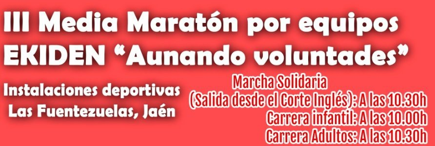 "Recta final para inscribirse en la Media Maratón por equipos EKIDEN ""Aunando voluntades"""
