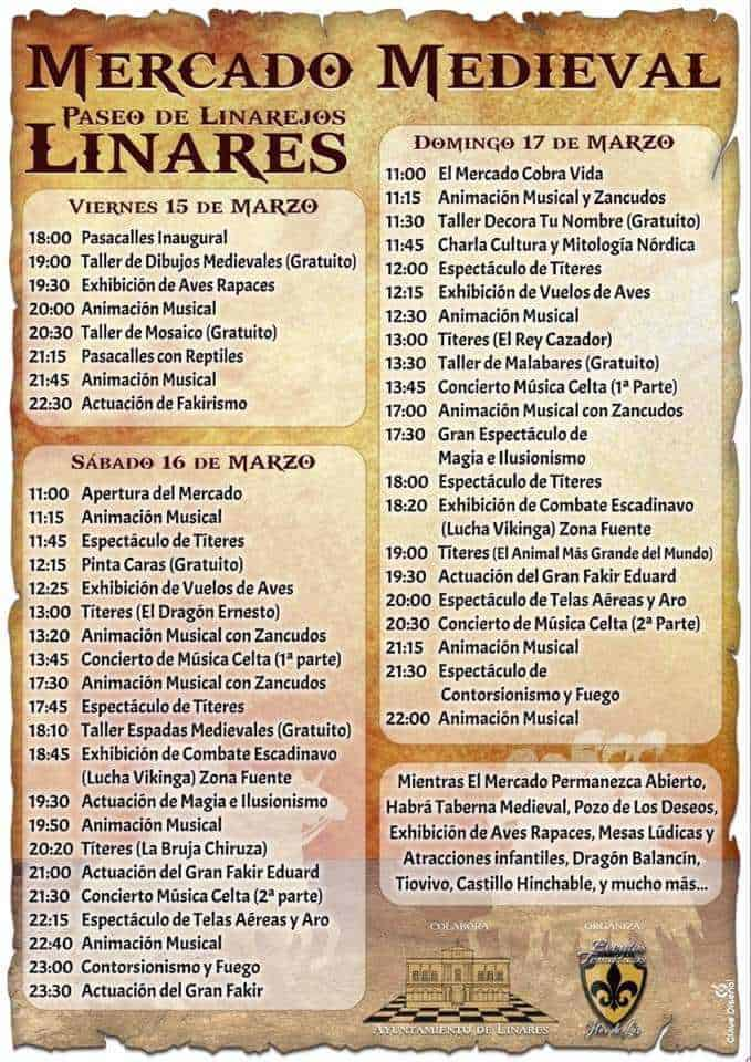 Linares 7. Programa Mercado medieval.