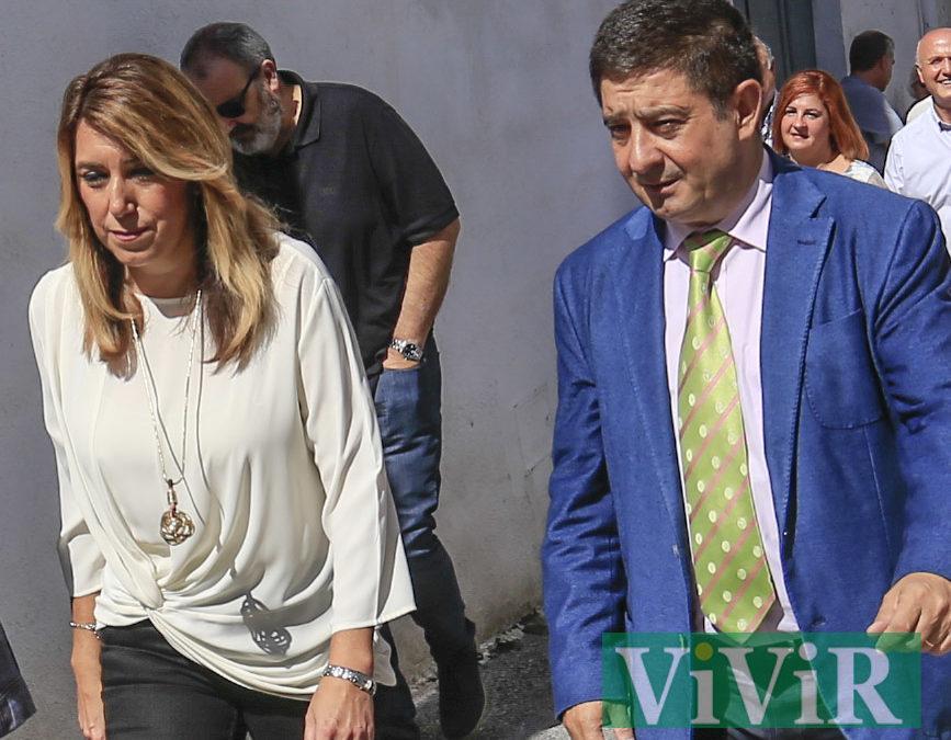 Acto público de Susana Díaz y Francisco Reyes en la sede del PSOE de Alcaudete