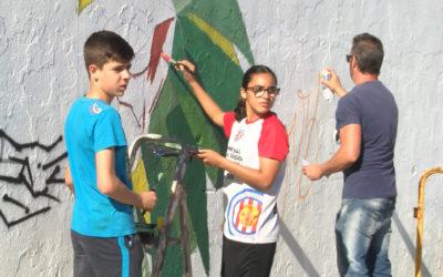 El programa Torredonjimeno ante las Drogas finaliza con un grafiti en las inmediaciones del Matías Prats