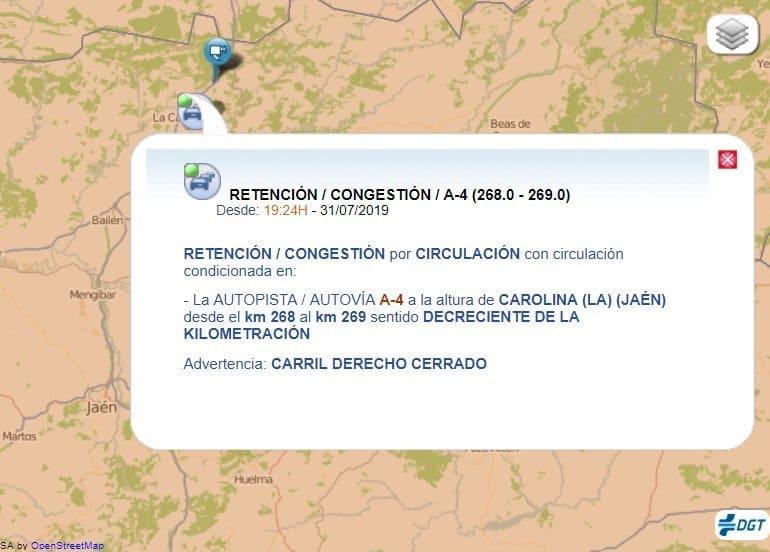 El choque entre dos camiones corta la autovía A-4 en La Carolina en sentido Madrid