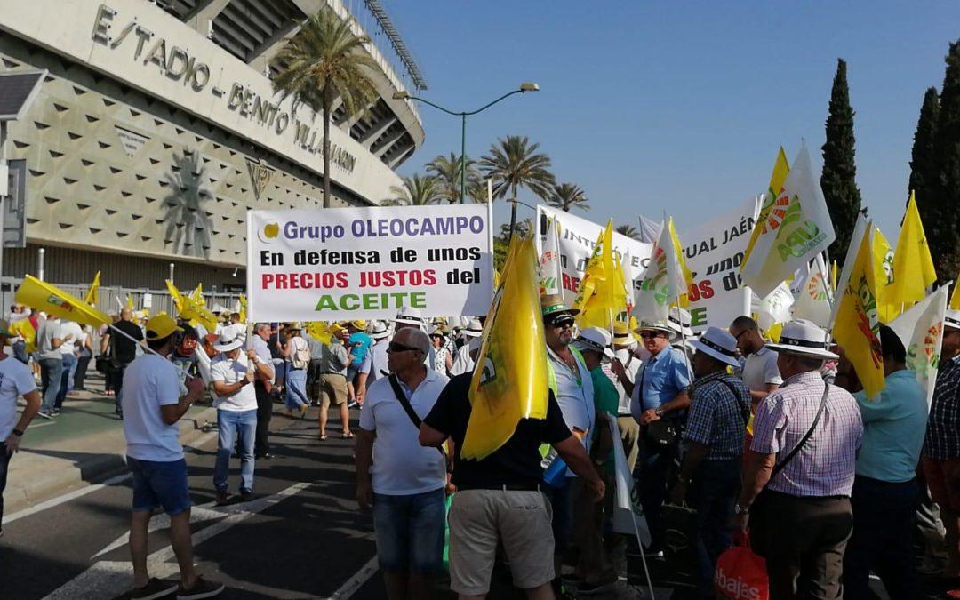 Agricultores torrecampeños presentes en la manifestación por los bajos precios del aceite