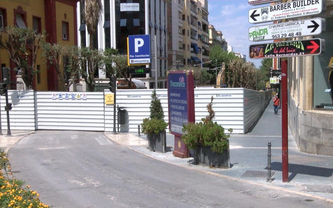 El acceso al aparcamiento subterráneo de la Plaza de la Constitución, modificado desde hoy