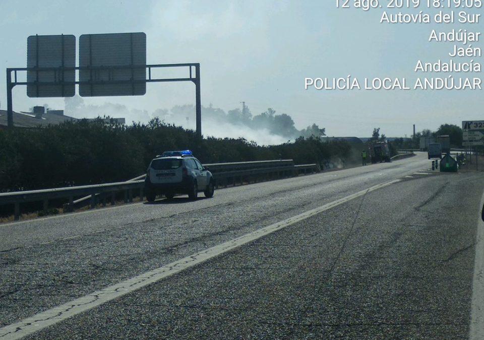 Los bomberos de Andújar extinguen numerosos incendios en las carreteras durante el verano