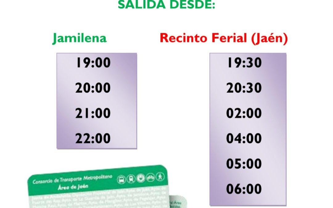 Horarios del transporte público para los desplazamientos a la Feria de San Lucas 2019