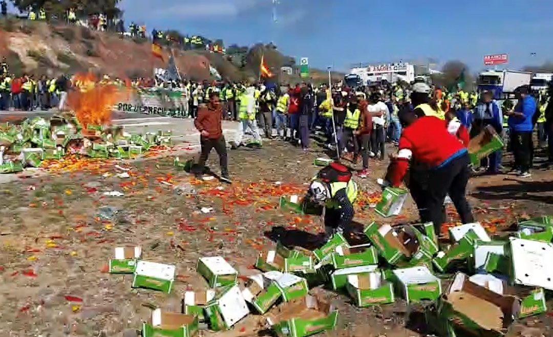 La Guardia Civil interviene para dispersar a los olivareros que protestan en la A-4