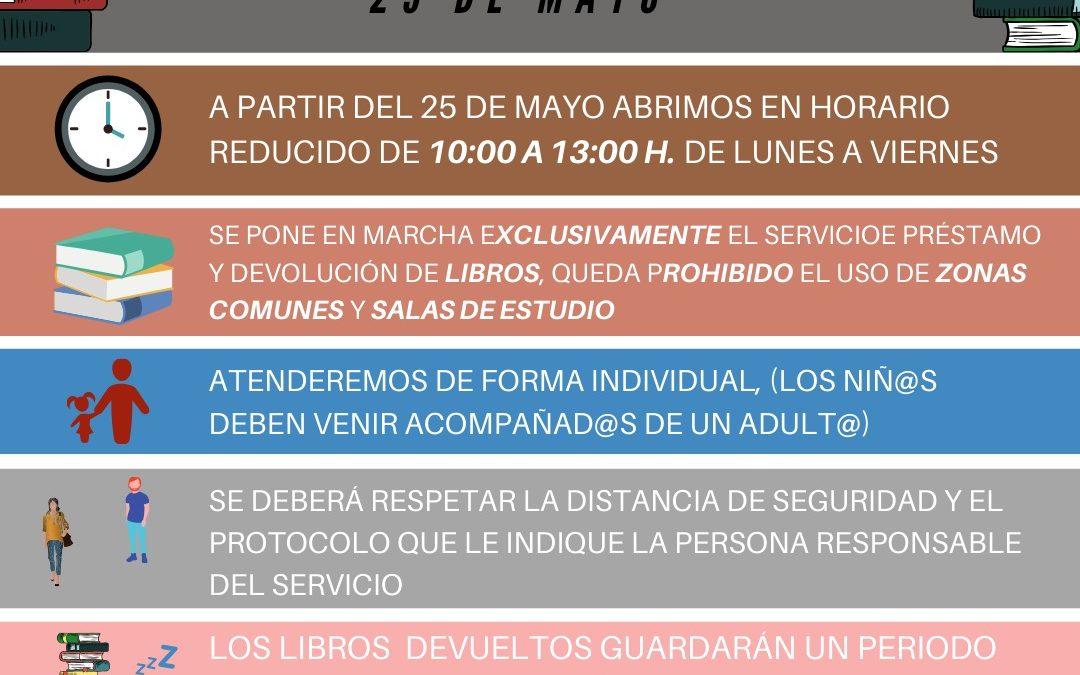 La Biblioteca Municipal reabre el 25 de mayo