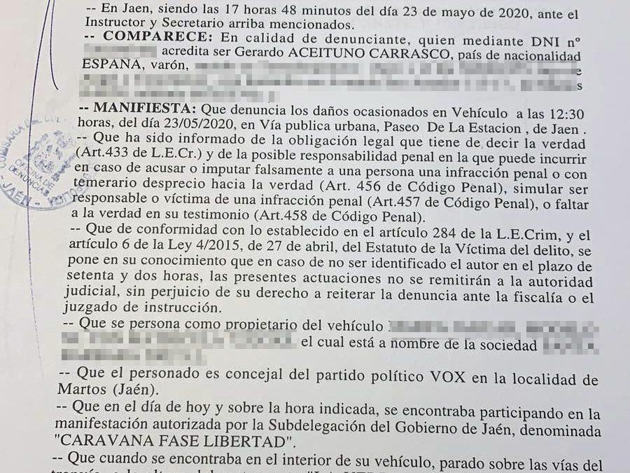 Concejales de VOX Martos formalizan denuncia por los disparos de balines recibidos en la manifestación del sábado