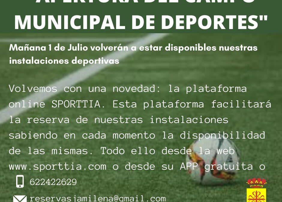Desde mañana se vuelven a abrir las instalaciones deportivas de Jamilena
