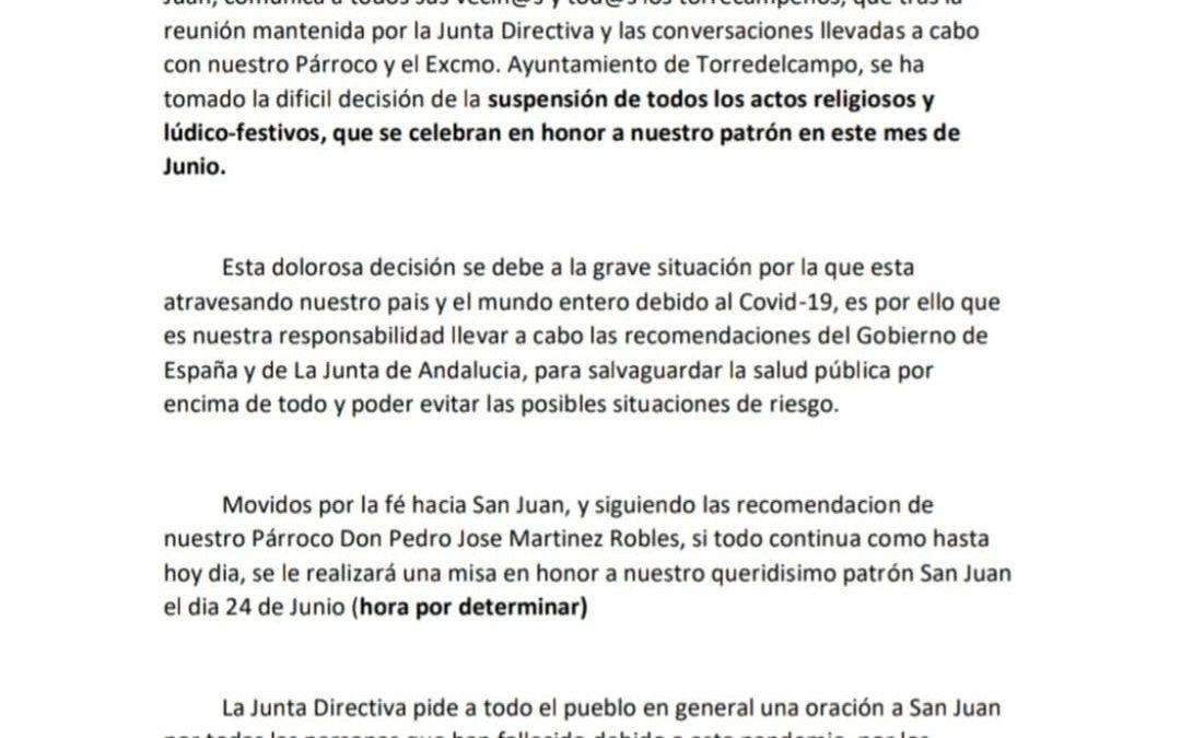 Se suspenden los actos religiosos y lúdicos-festivos de San Juan
