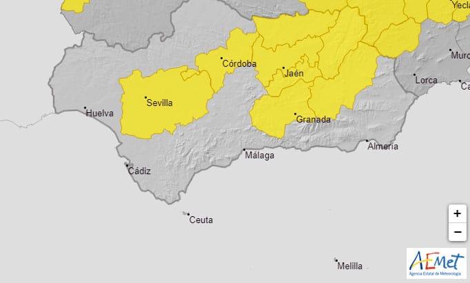Aviso amarillo por tormentas en toda la provincia de Jaén entre las 12 y las 21 horas