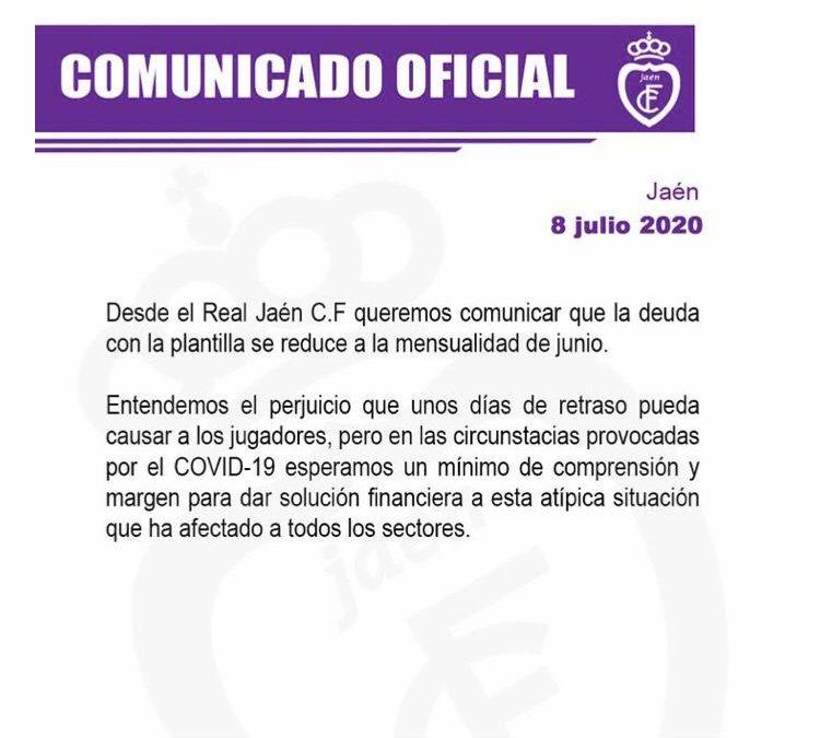 Los jugadores del Real Jaén cobran sus atrasos a falta del mes de junio