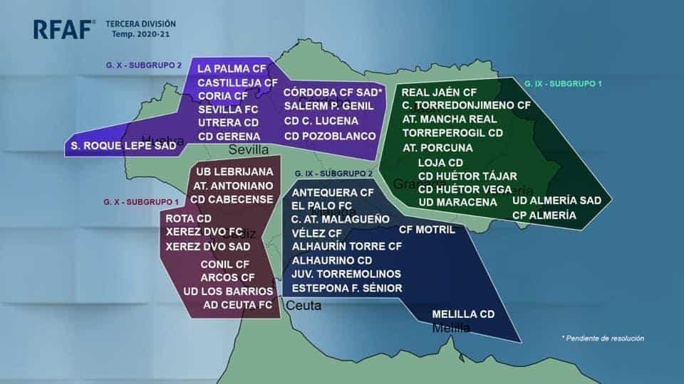 Los equipos jiennenses estarán en el mismo subgrupo de Tercera División