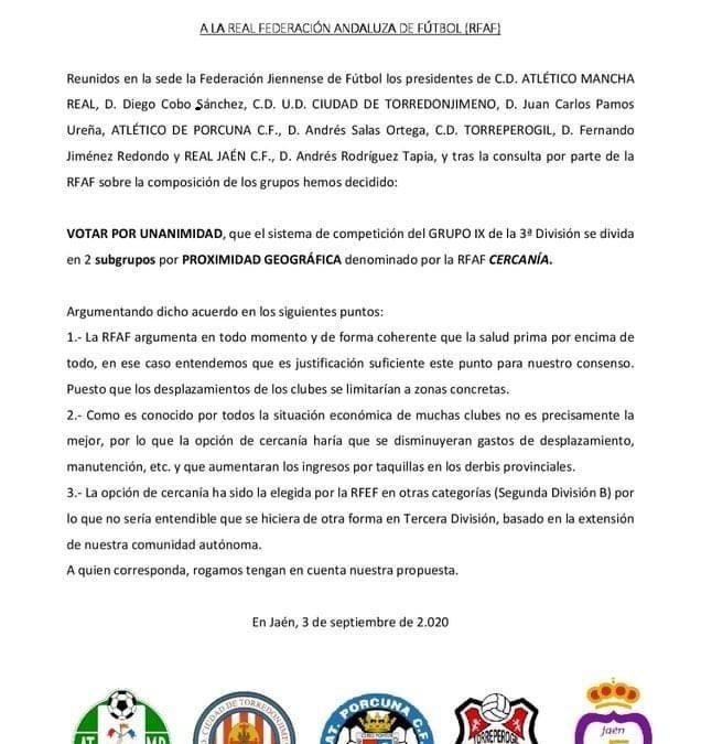 Torredonjimeno, Mancha Real, Porcuna, Torreperogil y Real Jaén piden que el subgrupo sea por cercanía geográfica