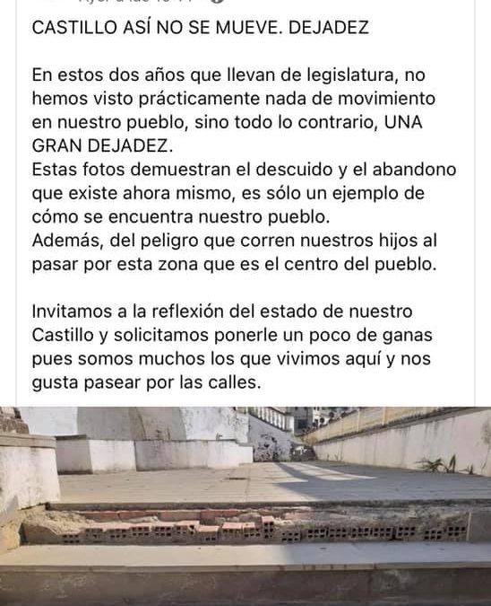 """El PP de Castillo denuncia la """"dejadez y el abandono"""" de calles del municipio"""