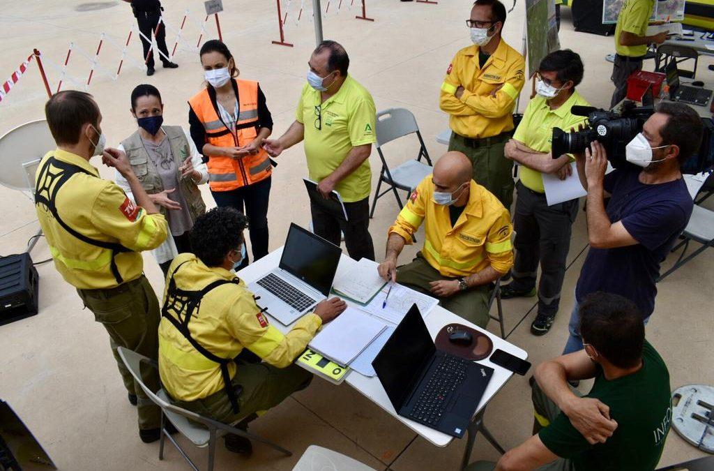 La Junta prueba la respuesta en emergencias en un simulacro de incendio forestal en Andújar