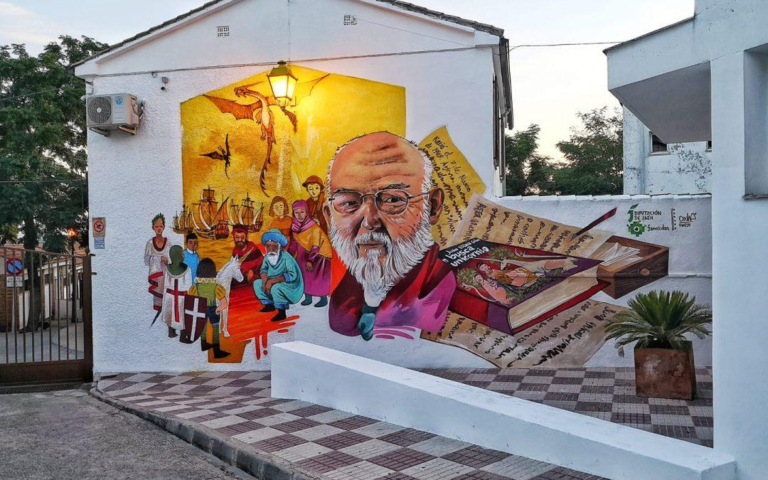 Mural dedicado al escritor Juan Eslava Galán