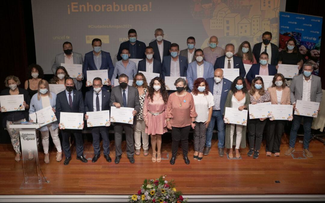 UNICEF Comité Andalucía destaca el fuerte compromiso con la infancia de los 31 municipios andaluces que han recibido o renovado el reconocimiento como Ciudad Amiga de la Infancia