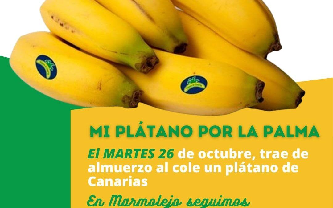 Los escolares de Marmolejo se solidarizan con La Palma y llevan plátanos para el almuerzo del colegio